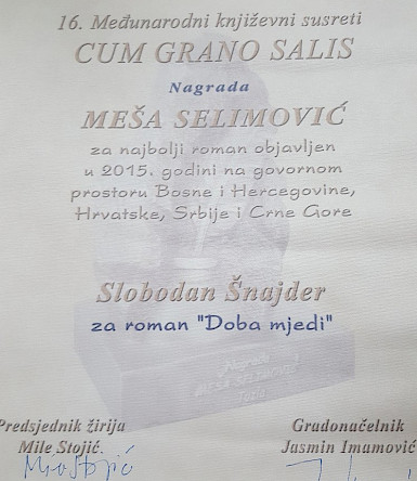 "Slobodan Šnajder won this year's Meša Selimović Award for his novel ""The Age of Brass"""